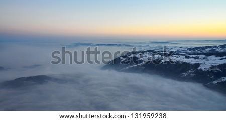 morning sunrise over alps at famous top of Rigi-Kulm, Switzerland, Europe - stock photo