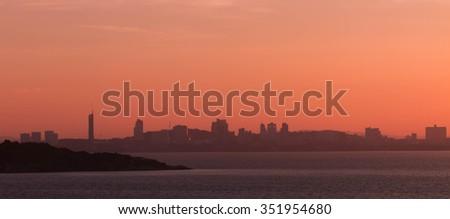 Morning sunrise Pattaya City A beautiful the foreground - stock photo