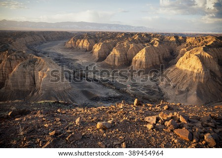 Morning sunshine on the Zhabyr Canyon (Yellow canyon) in National park Charyn,  Kazakhstan