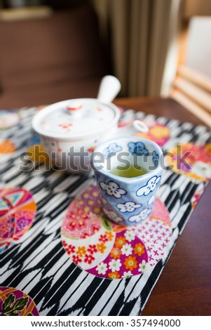 Morning Tea set on the table in Ryokan, Japan culture - stock photo