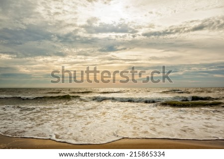 Morning tide at Virginia Beach in the summer