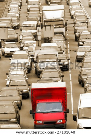 Morning traffic jam on a road in Kiev - stock photo