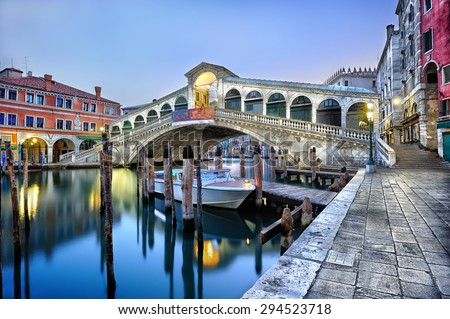 Morning twilight Grand canal and Rialto Bridge in Venice, Italy