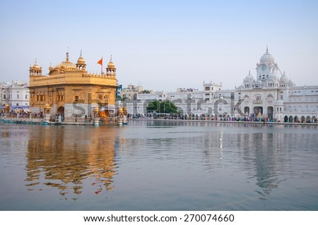 Morning view at Golden Temple in Amritsar, Punjab, India. - stock photo