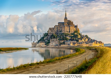 Morning view at the Mont Saint-Michel - France - stock photo
