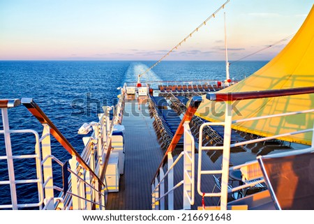 Morning view from deck of cruise ship - stock photo