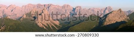 morning view from Karnische Alpen or Alpi Carniche to Sextener Dolomiten or Dolomiti di Sesto  - stock photo