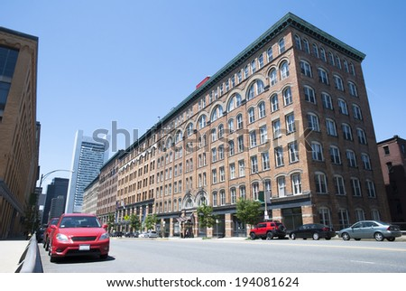 Morning view of an empty Summer Street in Boston city (Massachusetts). - stock photo