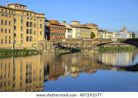 Morning view of Arno river in Florence, Italy