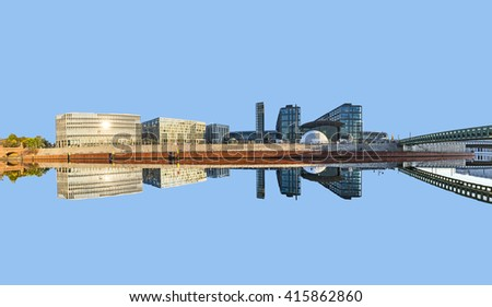 morning view of Central station with reflection from river Spree in Berlin, Germany - stock photo