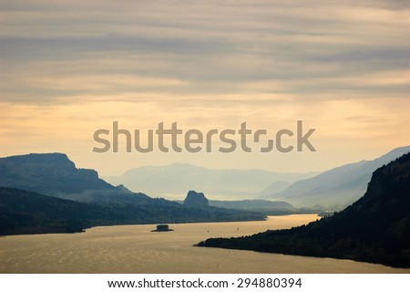 Morning View of Columbia, Columbia Gorge - stock photo