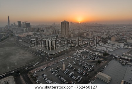 Morning view of Manama City taken from top from 22 storey building on 9th February 2015