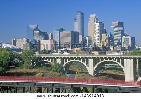 Morning view of Minneapolis, MN skyline - stock photo
