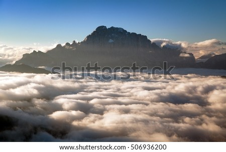 Morning view of mount Civetta from Col di Lana, South Tirol, Dolomites mountains, Italy
