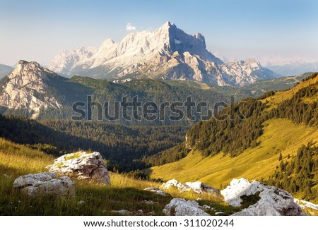 Morning view of Mount Civetta - one of the best mouts in Italien Dolomites Alps mountains - stock photo