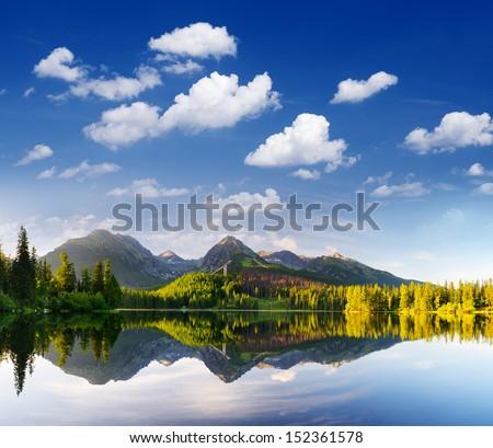 Morning view of mountain lake Strbske Pleso, Slovakia - stock photo