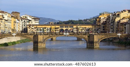 Morning view of Ponte Vecchio in Florence, Italy