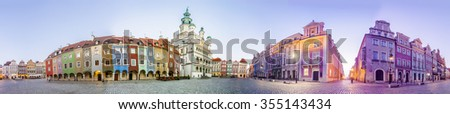 Morning view of Poznan Old Market Square in western Poland. Panoramic montage from 5 HDR images - stock photo