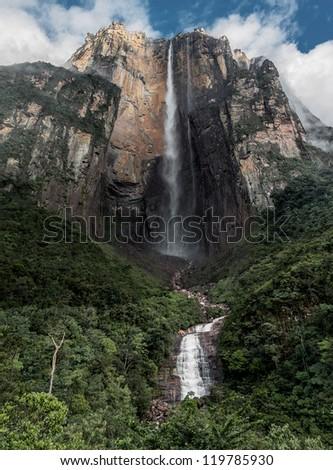 Morning view of the Angel Falls ( Salto Angel ) is worlds highest waterfalls (978 m), Venezuela - stock photo