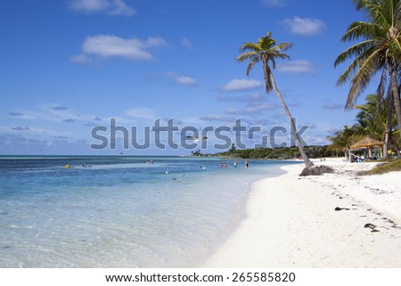 Morning view of the beach on Little Stirrup Cay (The Bahamas). - stock photo