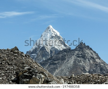 Morning view of the Chola (6069 m) in the area of Cho Oyu - Gokyo region, Nepal, Himalayas - stock photo