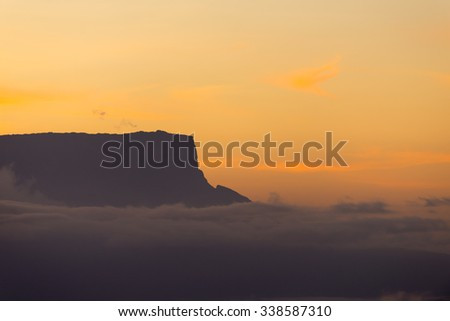 Morning view of the Kukenan tepuy from the Oso (Bear) viewpoint in Canaima National Park, Venezuela. - stock photo