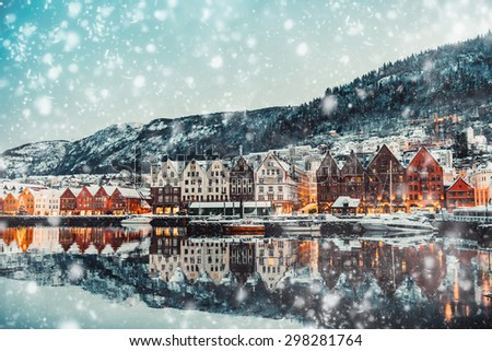 morning view on Bruges. Bergen. Norway - stock photo