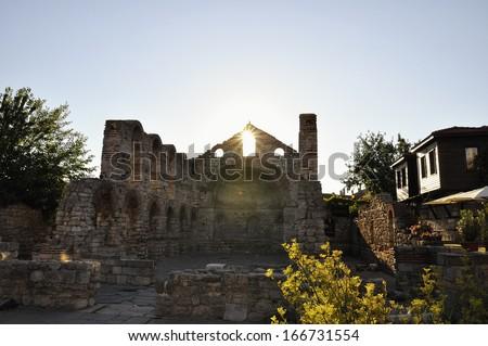 Morning view on Church of St Sophia ruins in Nessebar, Bulgaria. - stock photo