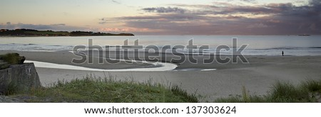 Morning view on unique sandy coastal strip opposite to the Solo Strand hotel, Stavanger, Norway - stock photo