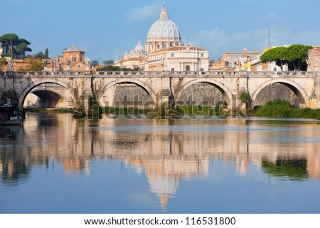 Morning view on Vatican over the Tiber river. - stock photo