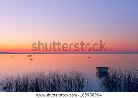Morning with boat,photo from Hungary,Balaton lake - stock photo