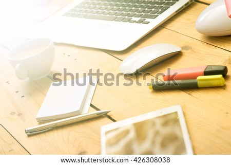 morning workplace - stock photo