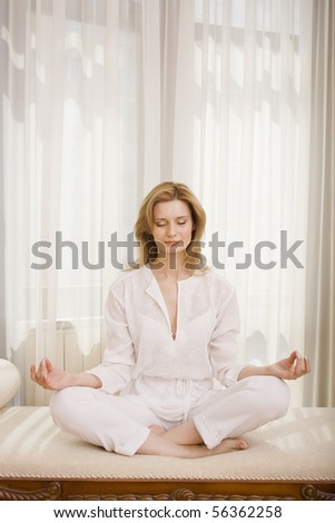 Morning yoga training at the home - stock photo