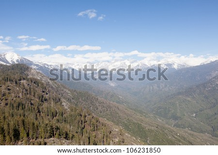 Moro Rock is a granite dome located in the center of the park, at the head of Moro Creek, between Giant Forest and Crescent Meadow. - stock photo