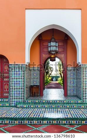 Moroccan architecture. Location: Marrakech - stock photo