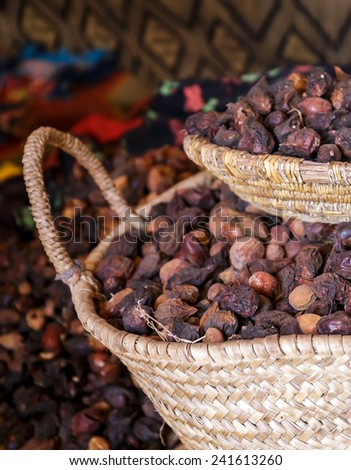 Moroccan argan seeds prepared for oil production - stock photo