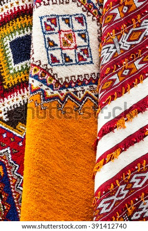 Moroccan carpets on market, Morocco, Casablanca. - stock photo