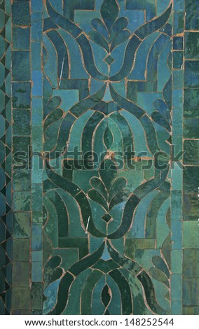 Moroccan Darj W Wtaf Tile Pattern tile pattern in a  riad Fes Morocco - stock photo