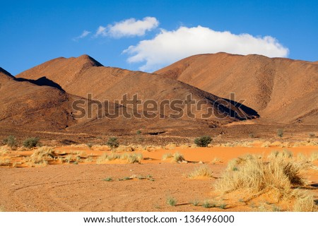 Moroccan desert and mountain landscape - stock photo
