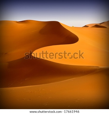Moroccan desert dune background 06. Blue sky