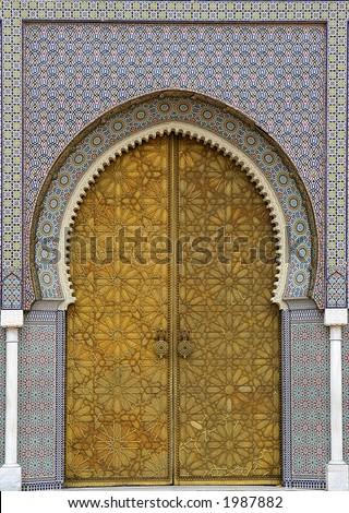 Moroccan entrance (3), door way, entry, exit, pattern - stock photo