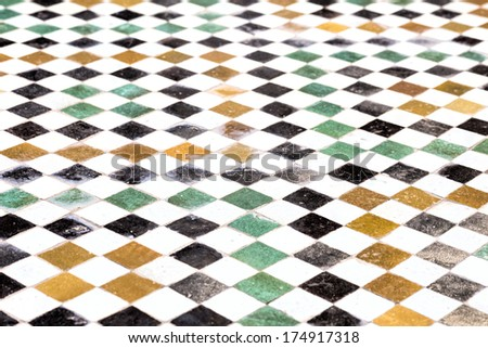 Moroccan floor mosaic as background - stock photo