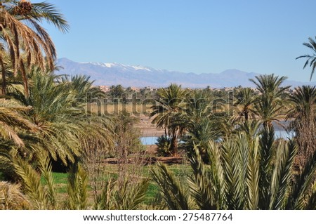 Moroccan Kasbah, Atlas Mountains, Africa - stock photo