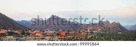 Moroccan mountain  village Tafraoute panorama  in Antiatlas Mountains, Africa - stock photo