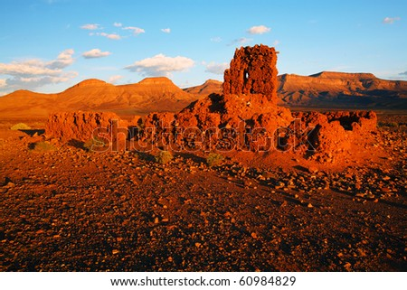 Moroccan ruins in Atlas Mountains, Africa - stock photo