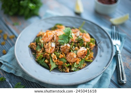 Moroccan Shrimp with Rice - stock photo