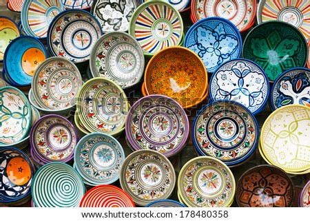moroccan souk crafts souvenirs in medina, Essaouira, Morocco - stock photo