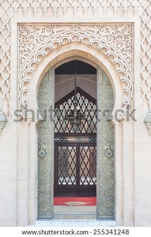 Moroccan style old big gate in Casablanca, Morocco - stock photo