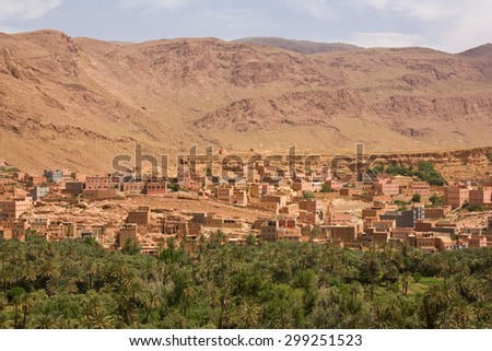 Moroccan town south of the High Atlas range in a river valley