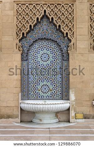 Moroccan traditional ornament, fontain, Rabat - stock photo